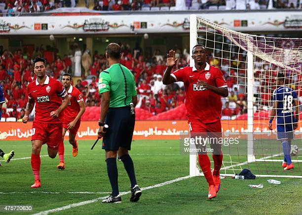 Ahmed Khalil Sebait Mubark Alkunaibi of Al Ahli celebrates scoring the first goal during the President's Cup Final between Al Ahli and Al Nasr at...