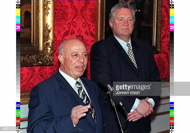 Ahmed Korei speaker of the Palestinian Legislative Council addresses the press at Lancaster House 19 February as Jeremy Hanley the British minister...