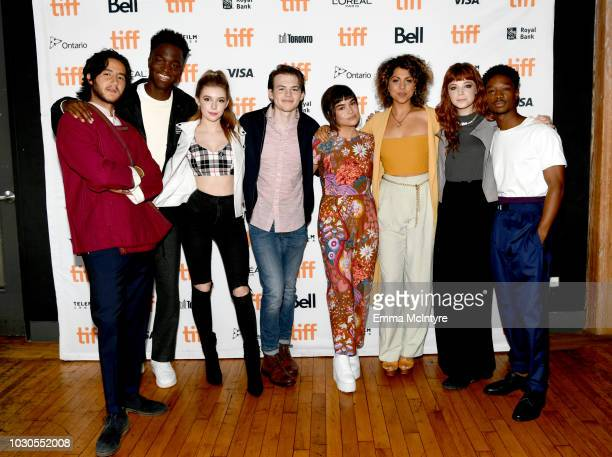 Ahmed Malek Stéphane Bak Eleanor WorthingtonCox Josh Wiggins Devery Jacobs Jess Salguerio Michaela Kurimsky and Lamar Johnson attend TIFF 2018 Rising...