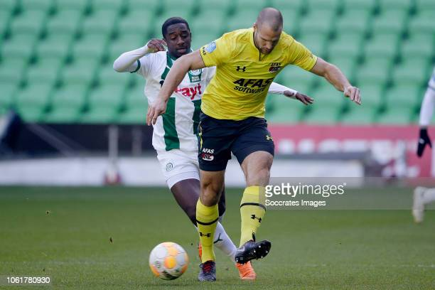 Ahmed Mendes Moreira of FC Groningen Ron Vlaar of AZ Alkmaar during the Club Friendly match between FC Groningen v AZ Alkmaar at the NoordLease...