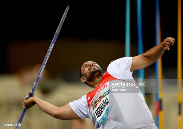 Ahmed Meshaima competes during the Men's Javelin Throw F38 on Day Three of the IPC World Para Athletics Championships 2019 Dubai on November 09, 2019...