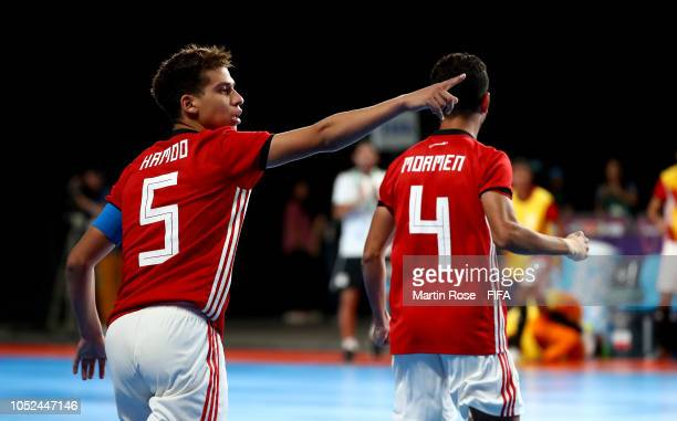 Ahmed Mohamed of Egypt celebrates after scoring in the Men's Futsal 3rd place match between Argentina and Egypt during the Buenos Aires Youth...