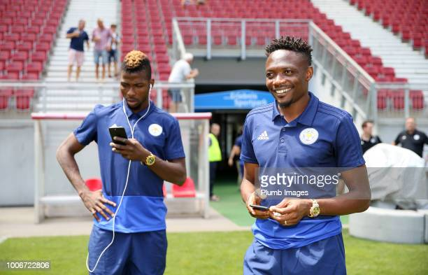 Ahmed Musa and Kelechi Iheanacho of Leicester City at Worthersee Stadion ahead of the preseason friendly match between Leicester City and Udinese at...