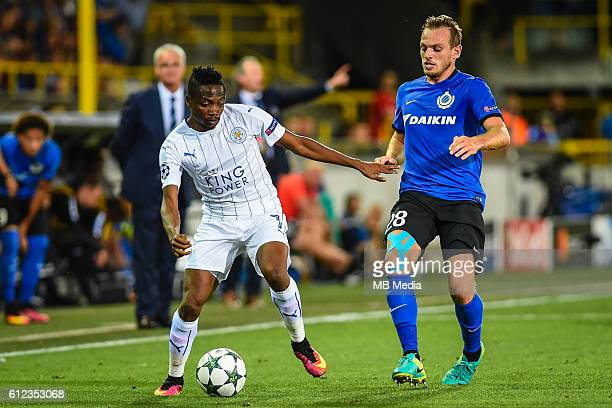 Ahmed Musa and Laurens De Bock pictured during the Champions League match between Club Brugge FC and Leicester City FC Group stage matchday one In...