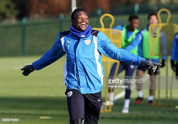Ahmed Musa during a Leicester City training session at Belvoir Drive Training Complex on December 01 , 2016 in Leicester, United Kingdom.