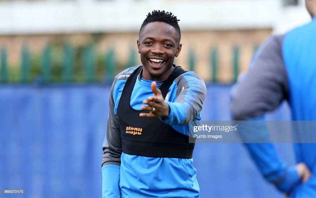 Ahmed Musa during the Leicester City training session at Belvoir Drive Training Complex on October 23 , 2017 in Leicester, United Kingdom.