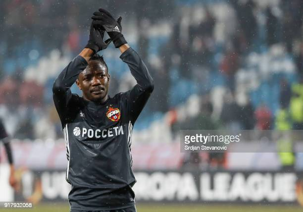 Ahmed Musa of CSKA Moscow reacts after the UEFA Europa League Round of 32 match between Crvena Zvezda Belgrade and CSKA Moscow at the Rajko Mitic...
