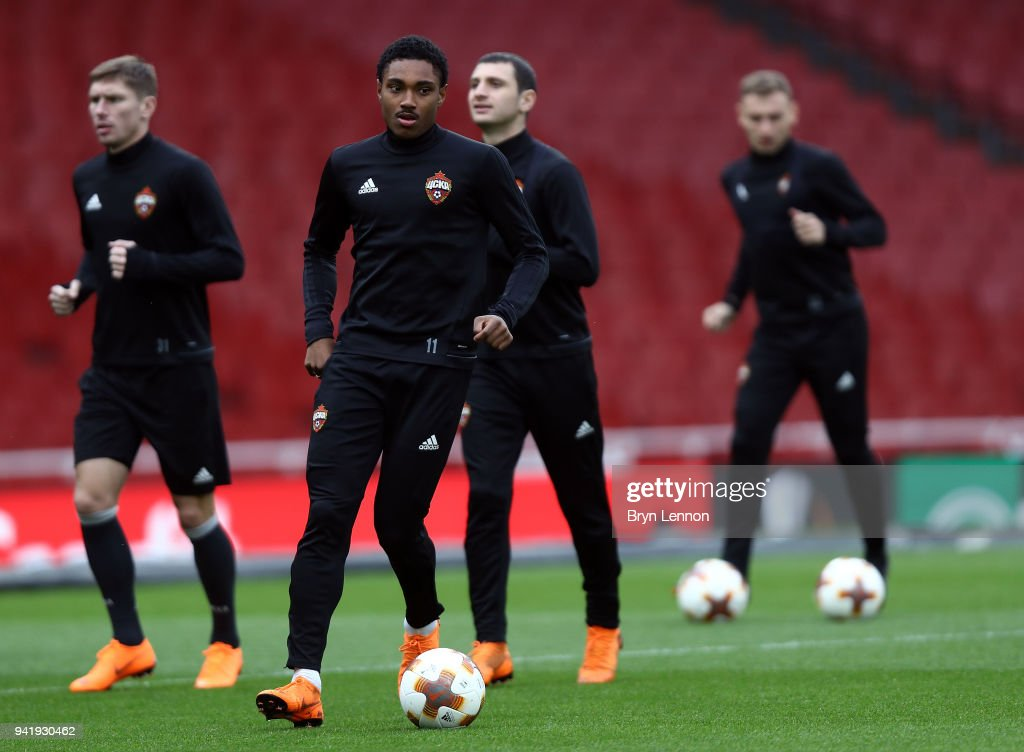 Ahmed Musa of CSKA Moscow takes part in a training session ahead of their Europa League 1/4 final 1st leg match against Arsenal at the Emirates Stadium on April 4, 2018 in London, England.