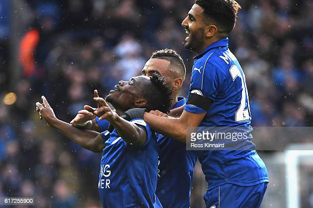Ahmed Musa of Leicester City celebrates scoring his sides first goal with Riyad Mahrez of Leicester City and team mates during the Premier League...