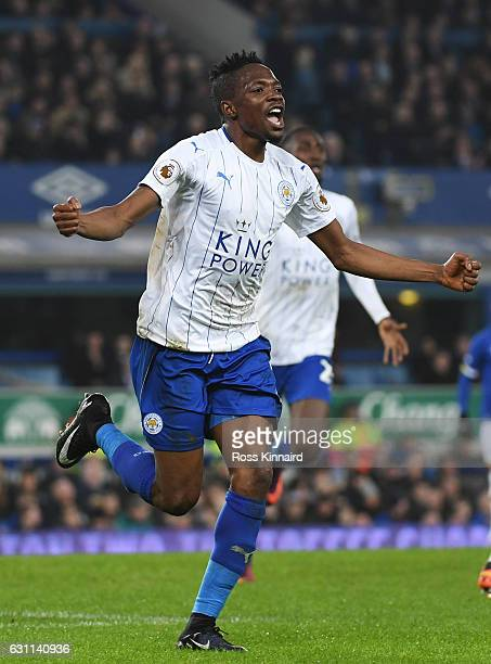 Ahmed Musa of Leicester City celebrates scoring his sides first goal during the Emirates FA Cup third round match between Everton and Leicester City...