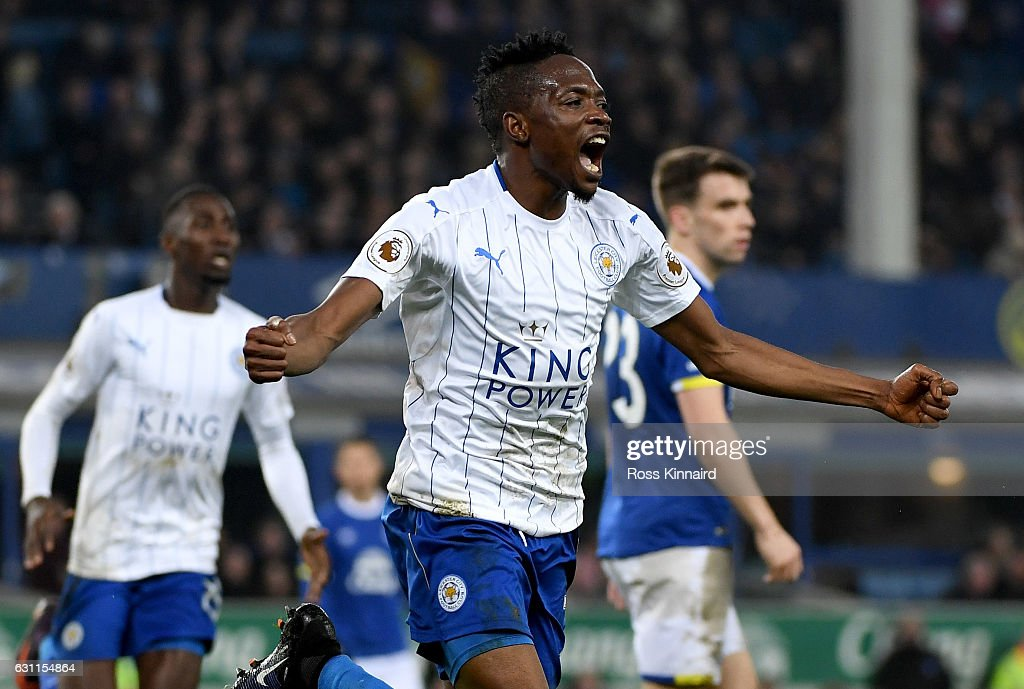 Ahmed Musa of Leicester City celebrates scoring his sides first goal during the Emirates FA Cup third round match between Everton and Leicester City at Goodison Park on January 7, 2017 in Liverpool, England.