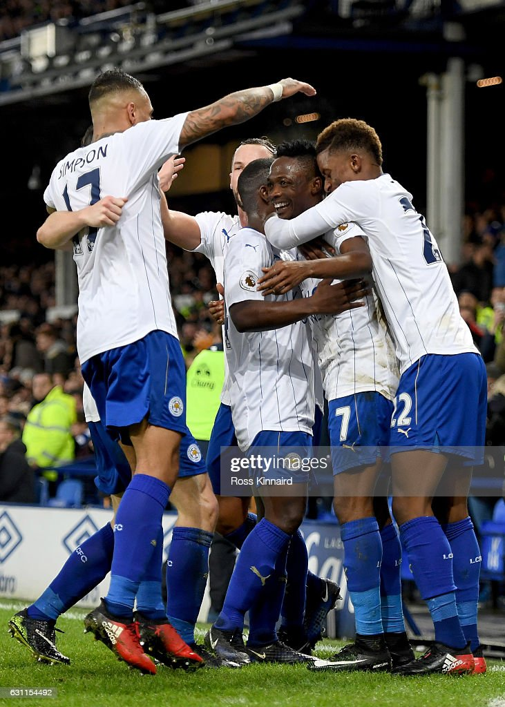 Ahmed Musa of Leicester City celebrates scoring his sides second goal during the Emirates FA Cup third round match between Everton and Leicester City at Goodison Park on January 7, 2017 in Liverpool, England.
