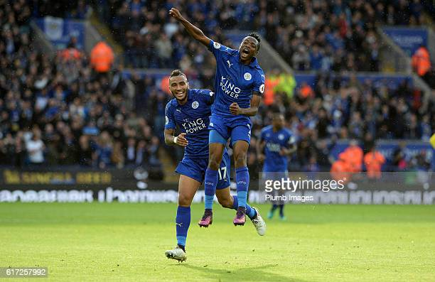Ahmed Musa of Leicester City celebrates with Danny Simpson of Leicester City after scoring to make it 10 during the Barclays Premier League match...