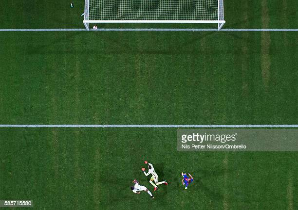 Ahmed Musa of Leicester City FC scores to make it 13 2016 International Champions Cup Leicester City FC and FC Barcelona at Friends arena on August 3...