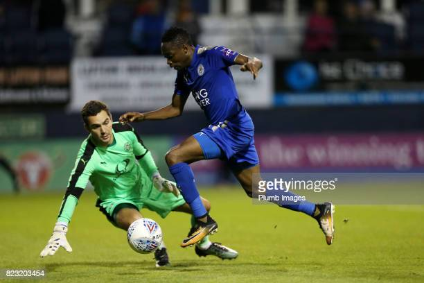Ahmed Musa of Leicester City in action with James Shea of Luton Town during the pre season friendly between Luton Town and Leicester City on July 26...