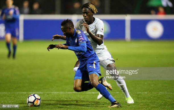 Ahmed Musa of Leicester City in action with Trevoh Chalobah of Chelsea during the Premier League 2 match between Leicester City and Chelsea at Holmes...