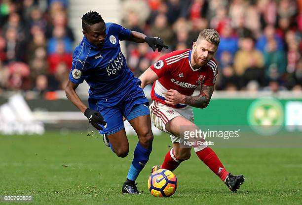 Ahmed Musa of Leicester City is challenged by Adam Clayton of Middlesbrough during the Premier League match between Middlesbrough and Leicester City...