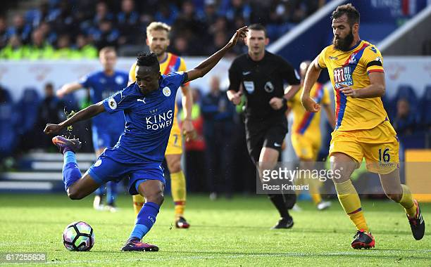 Ahmed Musa of Leicester City scores his team's first goal during the Premier League match between Leicester City and Crystal Palace at The King Power...