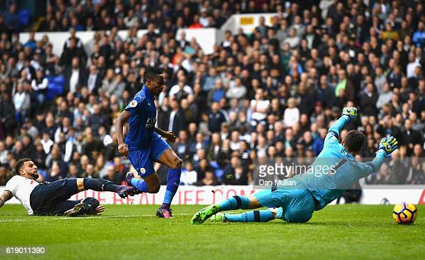 Ahmed Musa of Leicester City scores his team's first goal during the Premier League match between Tottenham Hotspur and Leicester City at White Hart...