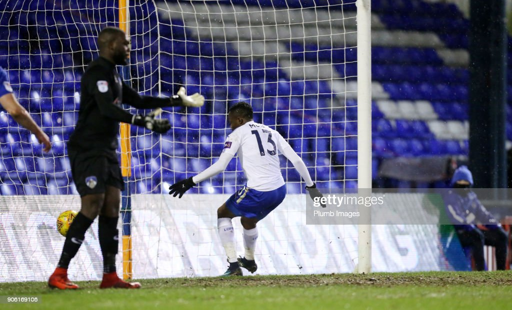 Ahmed Musa of Leicester City scores to make it 2-2 during the Checkatrade Trophy tie between Oldham Athletic and Leicester City at Boundary Park on January 17, 2018 in Oldham, United Kingdom.