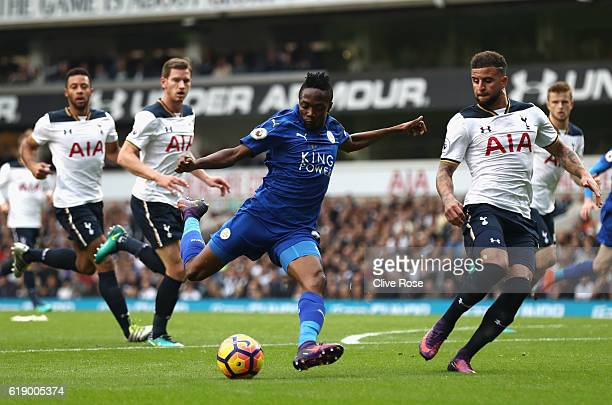 Ahmed Musa of Leicester City shoots at goal during the Premier League match between Tottenham Hotspur and Leicester City at White Hart Lane on...