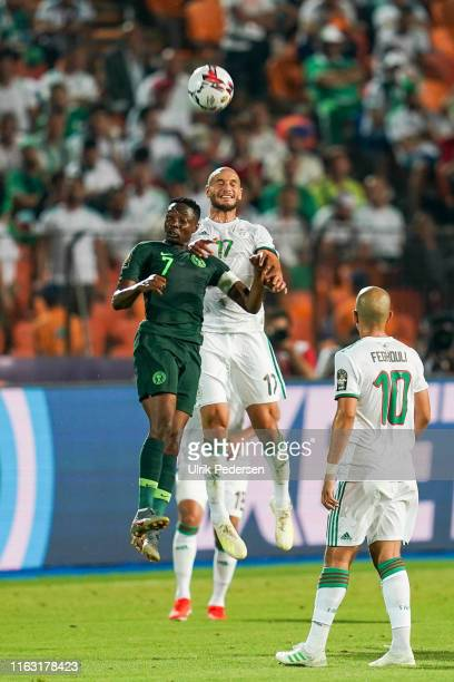 Ahmed Musa of Nigeria Adlane Guedioura of Algeria during the Semi Final African Nations Cup match between Nigeria and Algeria on 14th July 2019....
