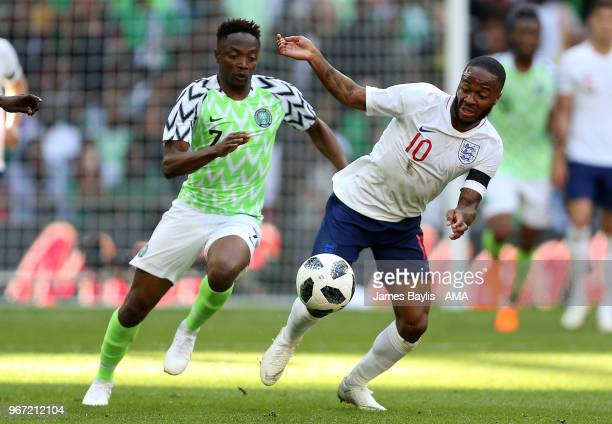 Ahmed Musa of Nigeria and Raheem Sterling of England during the International Friendly between England and Nigeria at Wembley Stadium on June 2 2018...