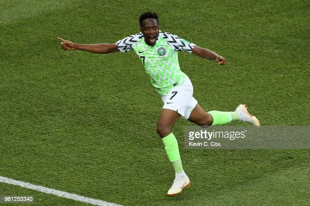Ahmed Musa of Nigeria celebrates after scoring his team's first goal during the 2018 FIFA World Cup Russia group D match between Nigeria and Iceland...