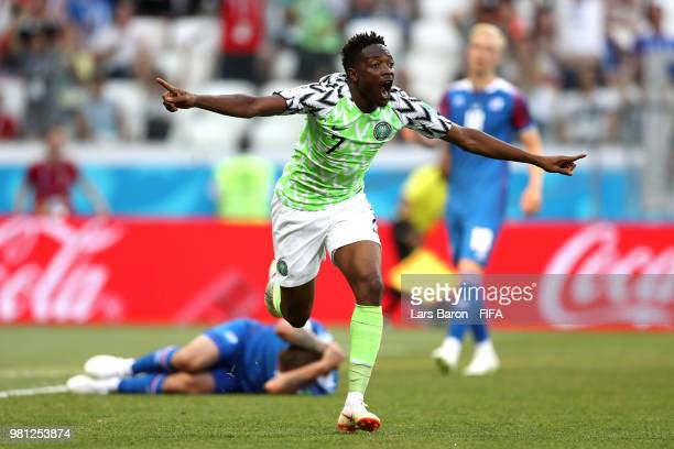 Nigeria's forward Kelechi Iheanacho celebrates after they scored their opener during the Russia 2018 World Cup Group D football match between Nigeria...