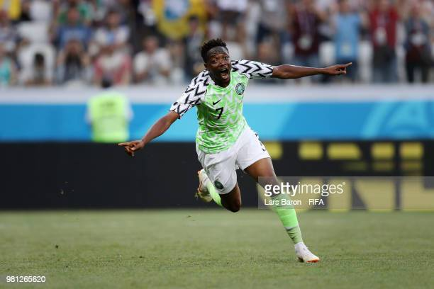 Ahmed Musa of Nigeria celebrates after scoring his team's second goal during the 2018 FIFA World Cup Russia group D match between Nigeria and Iceland...