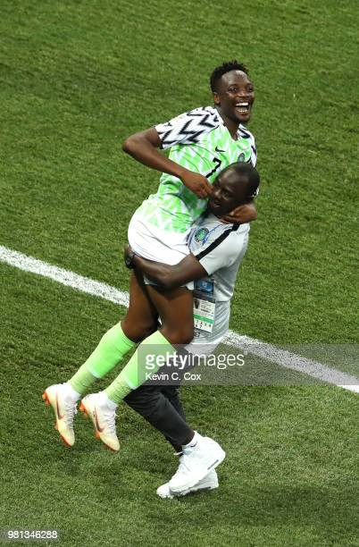 Ahmed Musa of Nigeria celebrates victory following the 2018 FIFA World Cup Russia group D match between Nigeria and Iceland at Volgograd Arena on...