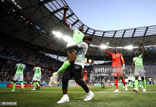 Ahmed Musa of Nigeria celebrates victory with teammates following the 2018 FIFA World Cup Russia group D match between Nigeria and Iceland at...