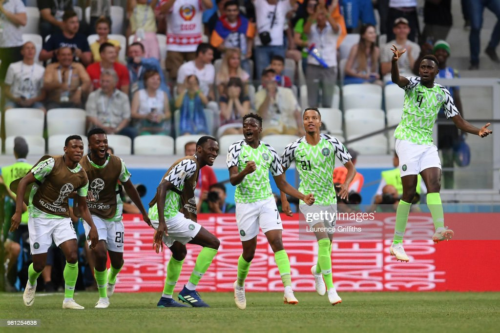 Ahmed Musa of Nigeria celebrates with team mates after scoring his team's first goal during the 2018 FIFA World Cup Russia group D match between Nigeria and Iceland at Volgograd Arena on June 22, 2018 in Volgograd, Russia.