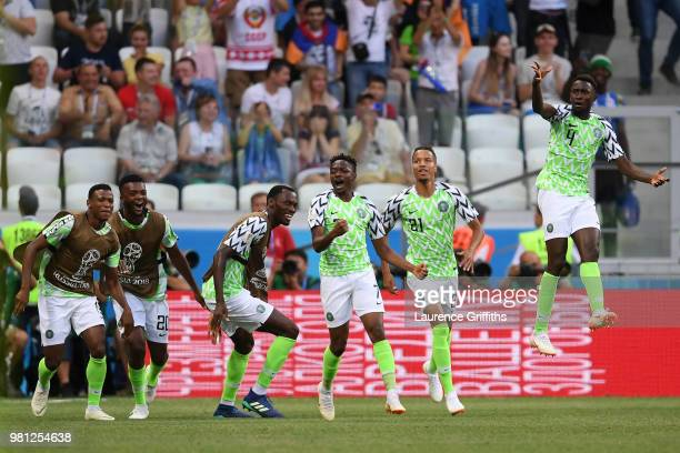 Ahmed Musa of Nigeria celebrates with team mates after scoring his team's first goal during the 2018 FIFA World Cup Russia group D match between...