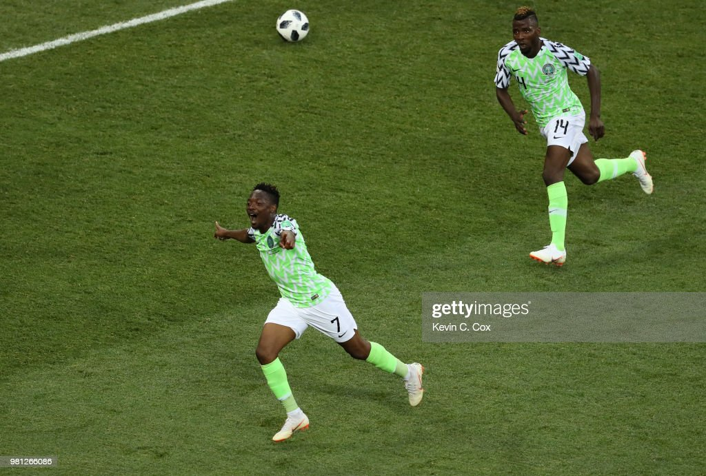 Ahmed Musa of Nigeria celebrates with teammate Kelechi Iheanacho after scoring his team's second goal during the 2018 FIFA World Cup Russia group D match between Nigeria and Iceland at Volgograd Arena on June 22, 2018 in Volgograd, Russia.