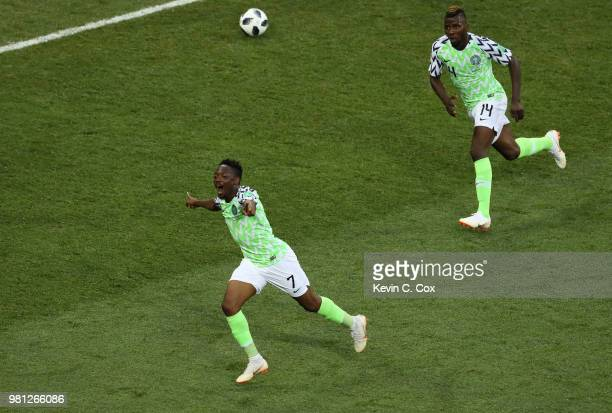 Ahmed Musa of Nigeria celebrates with teammate Kelechi Iheanacho after scoring his team's second goal during the 2018 FIFA World Cup Russia group D...