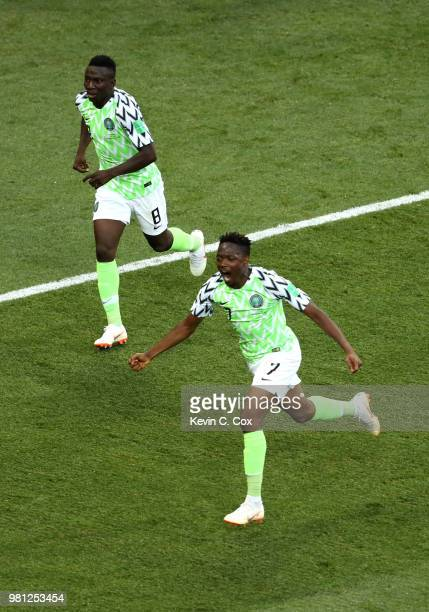 Ahmed Musa of Nigeria celebrates with teammate Oghenekaro Etebo after scoring his team's first goal during the 2018 FIFA World Cup Russia group D...