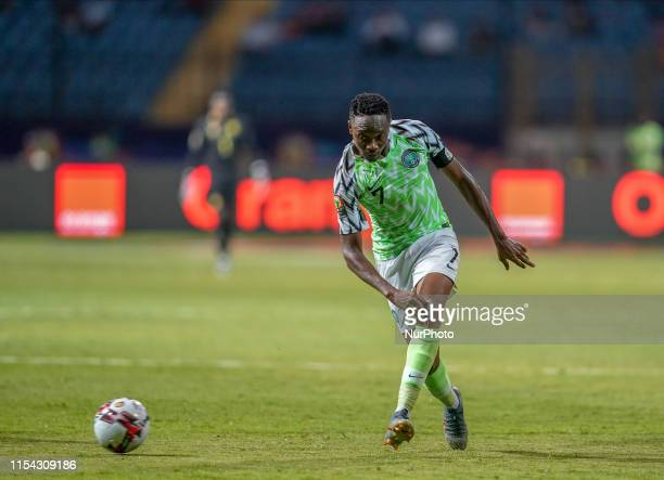 Ahmed Musa of Nigeria during the 2019 African Cup of Nations match between Cameroon and Nigeria at the Alexanddria Stadium in Alexandria, Egypt on...