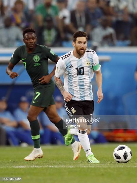 Ahmed Musa of Nigeria Lionel Messi of Argentina during the 2018 FIFA World Cup Russia group D match between Nigeria and Argentina at the Saint...