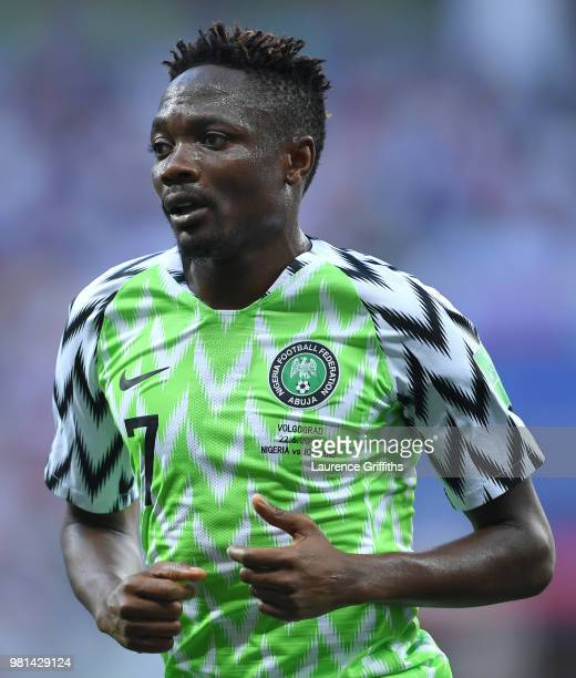 Ahmed Musa of Nigeria looks on during the 2018 FIFA World Cup Russia group D match between Nigeria and Iceland at Volgograd Arena on June 22 2018 in...