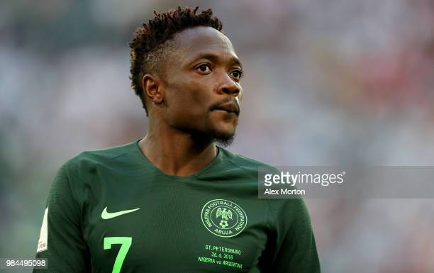 Ahmed Musa of Nigeria looks on during the 2018 FIFA World Cup Russia group D match between Nigeria and Argentina at Saint Petersburg Stadium on June...