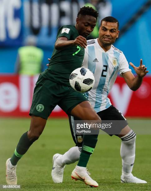 Ahmed Musa of Nigeria national team and Gabriel Mercado of Argentina national team vie for the ball during the 2018 FIFA World Cup Russia group D...