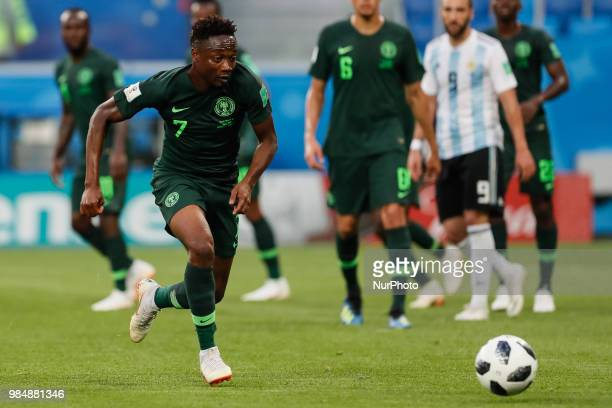 Ahmed Musa of Nigeria national team during the 2018 FIFA World Cup Russia group D match between Nigeria and Argentina on June 26 2018 at Saint...