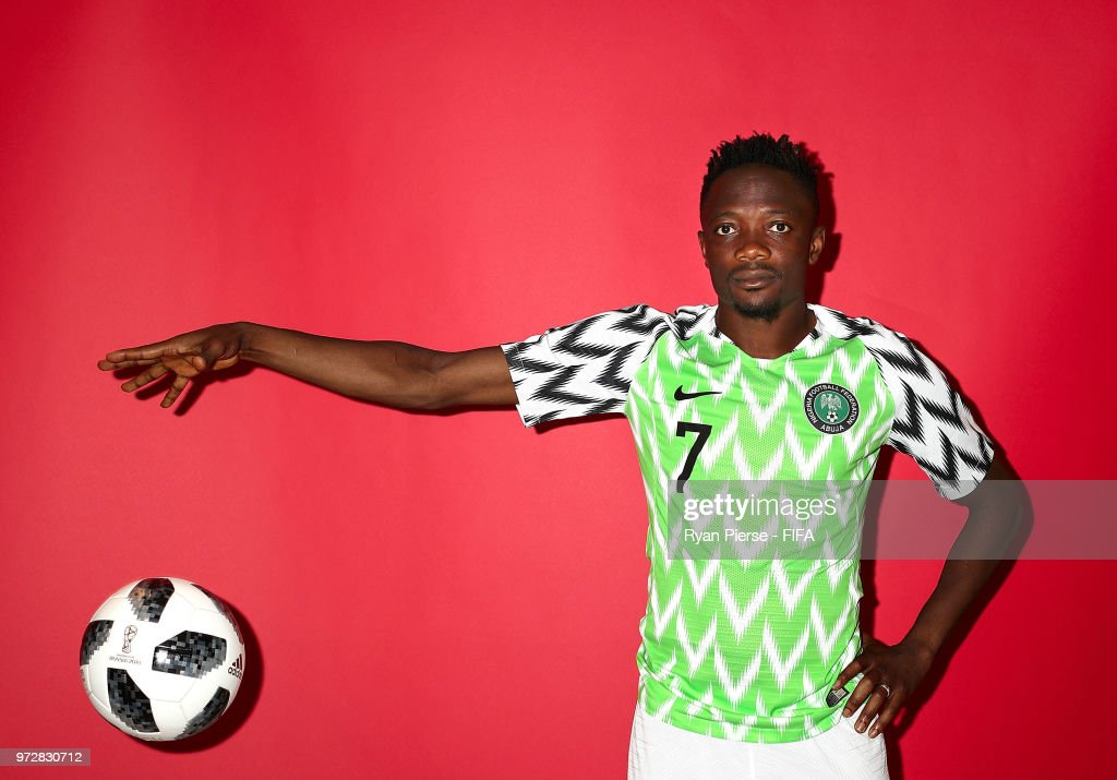 Ahmed Musa of Nigeria poses during the official FIFA World Cup 2018 portrait session on June 12, 2018 in Yessentuki, Russia.
