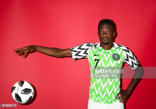 Ahmed Musa of Nigeria poses during the official FIFA World Cup 2018 portrait session on June 12 2018 in Yessentuki Russia