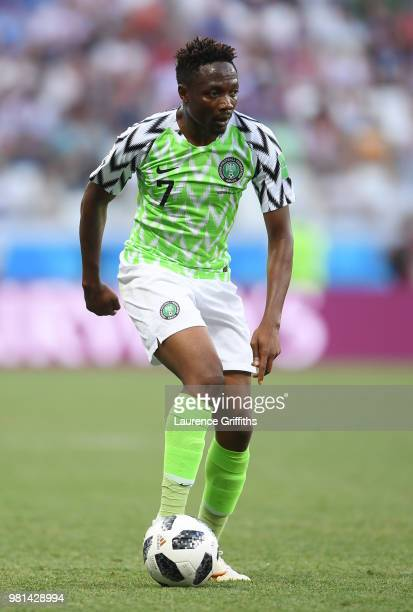 Ahmed Musa of Nigeria runs with the ball during the 2018 FIFA World Cup Russia group D match between Nigeria and Iceland at Volgograd Arena on June...