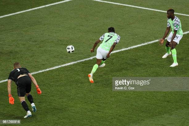 Ahmed Musa of Nigeria scores his sides second goal past Hannes Halldorsson of Iceland during the 2018 FIFA World Cup Russia group D match between...