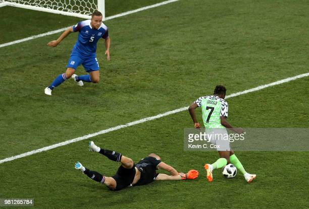 Ahmed Musa of Nigeria scores his team's second goal past Hannes Halldorsson of Iceland during the 2018 FIFA World Cup Russia group D match between...