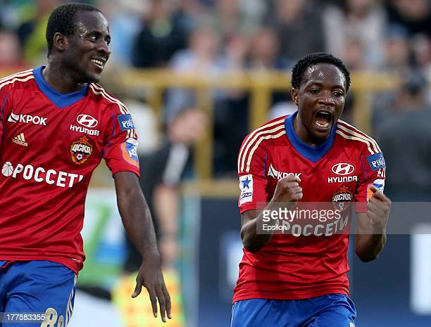 Ahmed Musa of PFC CSKA Moscow celebrates after scoring a goal during the Russian Premier League match between FC Tom Tomsk and PFC CSKA Moscow at...