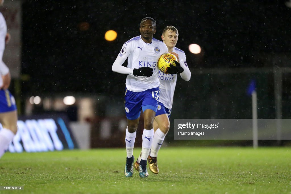 Ahmed Must of Leicester City celebrates after scoring to make it 2-2 during the Checkatrade Trophy tie between Oldham Athletic and Leicester City at Boundary Park on January 17, 2018 in Oldham, United Kingdom.